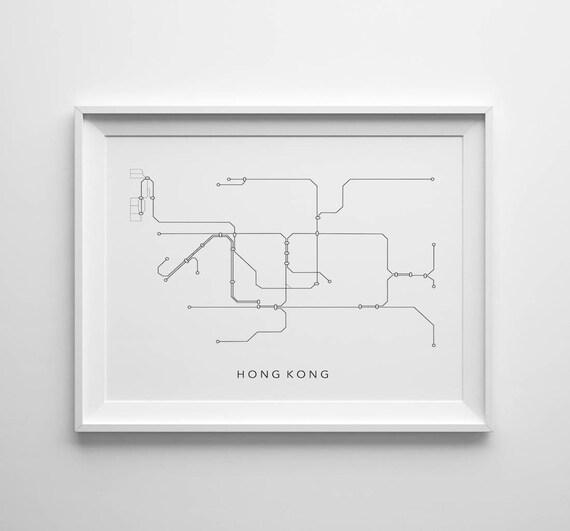 Hong Kong Subway Map Download.Hong Kong Metro Minimalistic Map Printable Art 8x10 4 5 Ratio Modern Wall Art Instant Download Digital Print