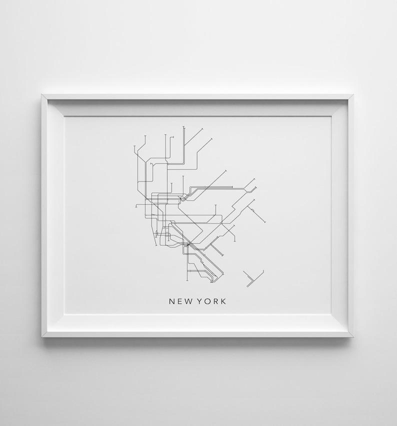 New York Metro Minimalistic Map Printable Art 8x10 4:5 image 0