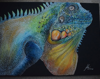 Detailed Lizard - 50 x 70cm,  canvas, lizard, colorful, large,  painting, animal, acrylics