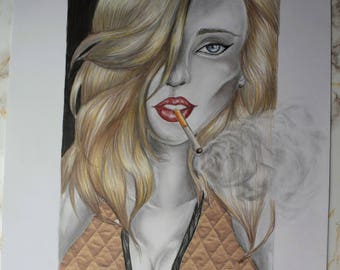 Guilty- A3 paper, girl, drawing, art, portrait, print paper, patterns, shading, cigarette, smoking,  sketch