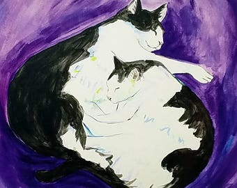 Cat Nap Purple Painting Art Print Postcards (Set of 10 Cards)