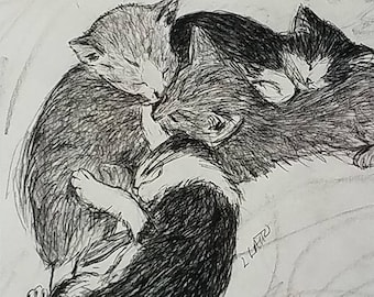 Rescue Kittens Pillow Napping Drawing Postcards (set of 10 cards)