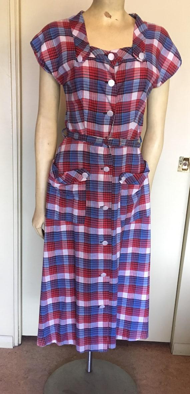 Vintage 40's-50s Plaid Cotton Dress - image 6