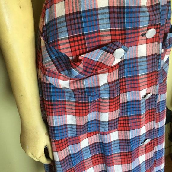 Vintage 40's-50s Plaid Cotton Dress - image 8