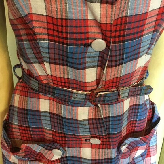 Vintage 40's-50s Plaid Cotton Dress - image 9