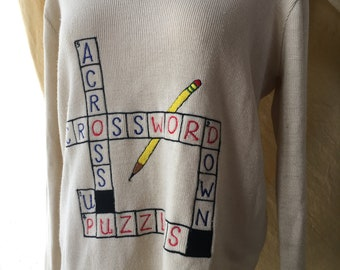 Vintage Crossword Embroidered Sweater by LeRoy Knitwear