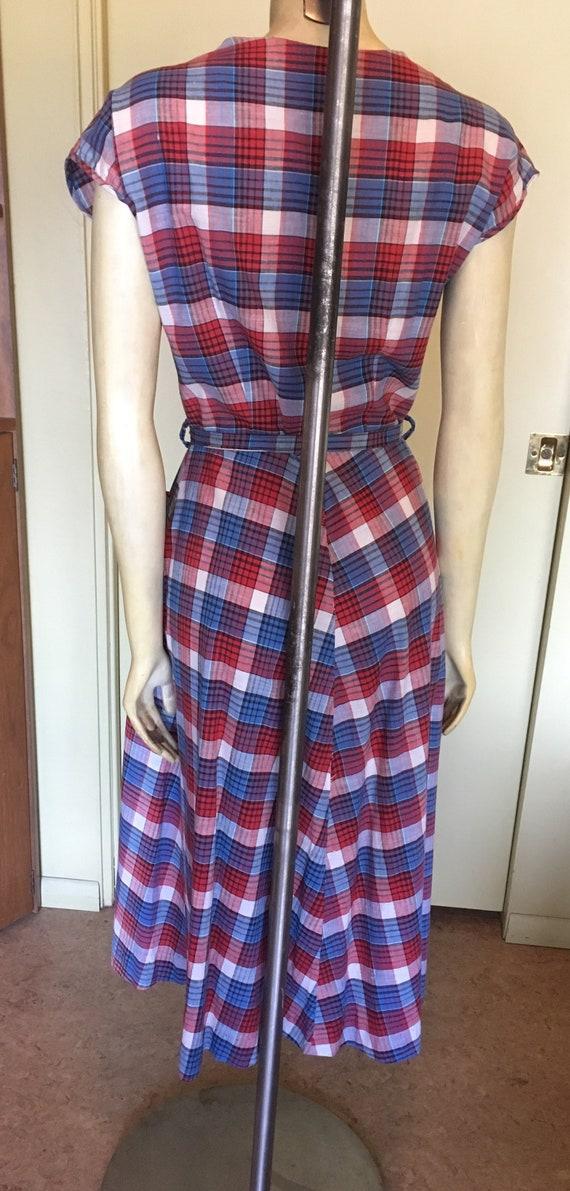 Vintage 40's-50s Plaid Cotton Dress - image 4