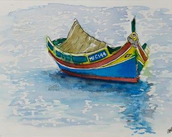 Boat in Marsaxlokk, Malta - Watercolor