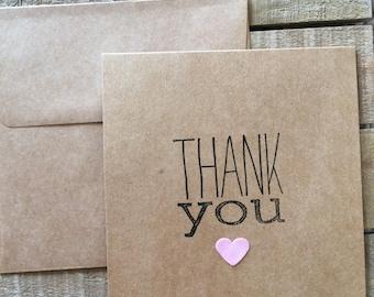 Heart Thank you notes set