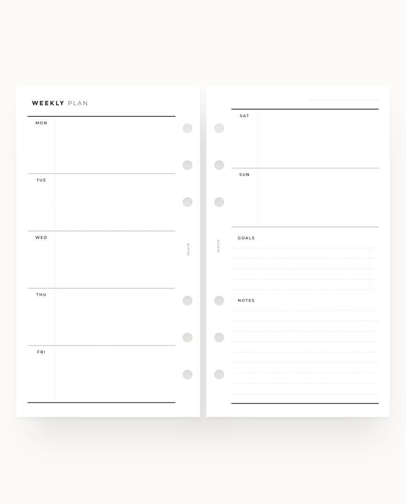 Weekly Inserts Personal Planner Kit PERSONAL Size l Weekly Printable Minimalist Weekly Spread Personal Organiser Weekly Planner