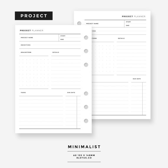a6 project planner minimalist l project tracker assignment etsy