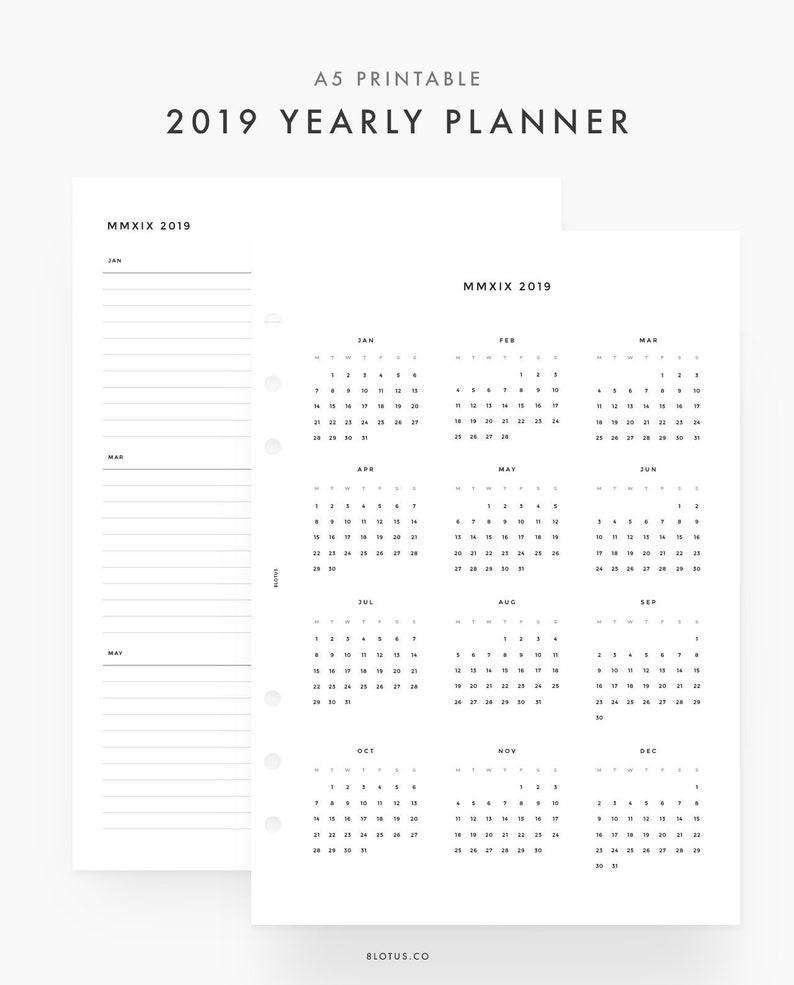 2019 Year View Calendar 2019 Yearly Planner A5 2019 Calendar 2019 Yearly View | Etsy