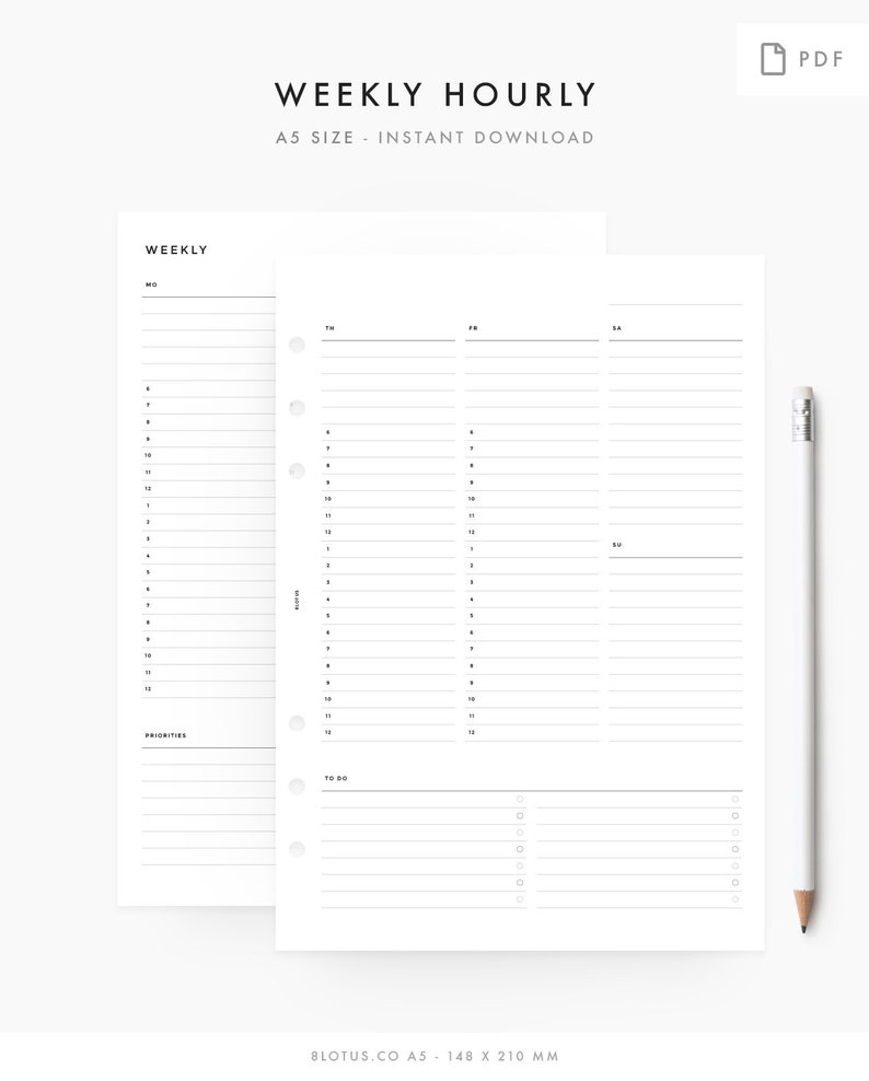 graphic relating to Weekly Hourly Planner Pdf named A5 - Bare minimum Weekly Hourly Planner - Printable Planner Inserts, A5 Program - PRINTABLE PDF, Prompt Down load