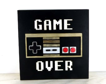 Game Over Console Laser Cut Wooden Door Wall Sign Gaming Plaque Geeky Art Decor