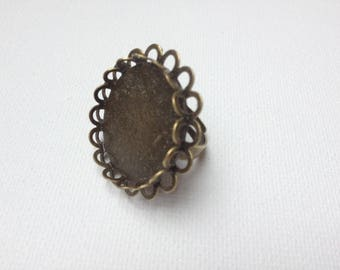 Support ring cabochon 25 mm double lace