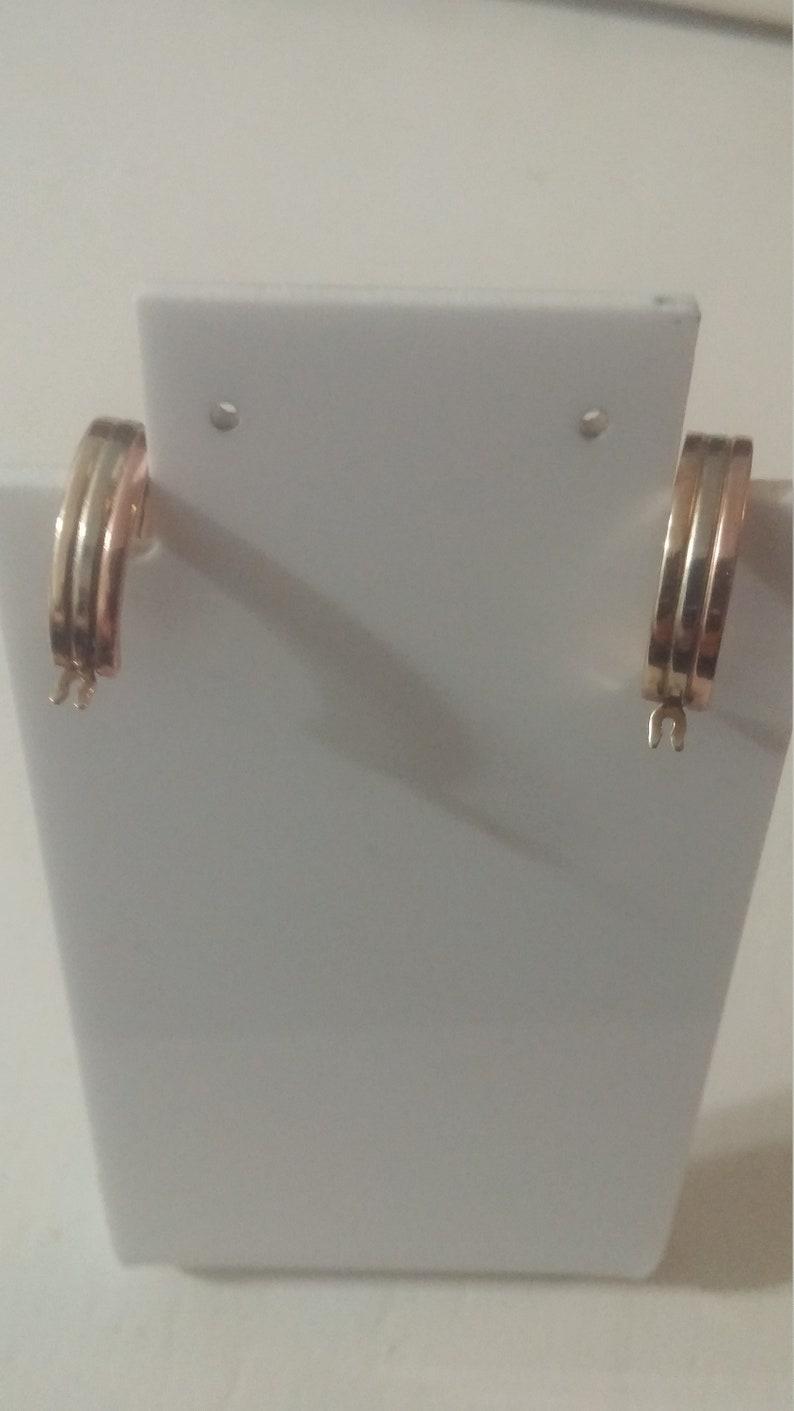 Gorgeous tri-color 10k hoop earrings
