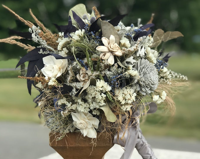 READY TO SHIP Dried Flower Sola Wood Winter Wedding Bridal Bouquet Cream, Gray, Blue, Tan, Brown, White