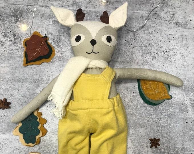 Woodland Nursery Deer Organic Fabric Doll Handmade Waldorf Inspired Toddler Boy Homeschooling Forest Friend