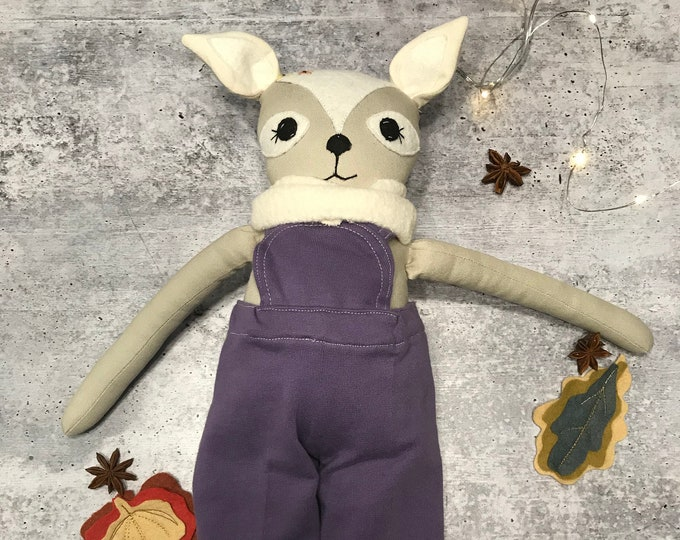 Woodland Nursery Deer Organic Fabric Doll Handmade Waldorf Inspired Toddler Girl Homeschooling Forest Friend