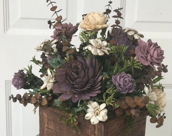 READY TO SHIP Purple Cream Beige Wedding Boho Farmhouse Wood Box Centerpiece with Dried Flowers