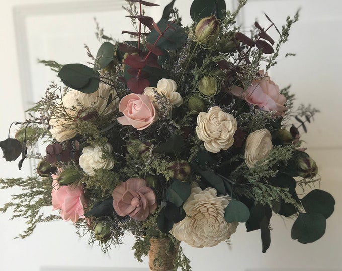 READY TO SHIP Cream and Pink Sola Wood Flower Natural Bridal Bouquet Boho Wildflower Look Free Shipping
