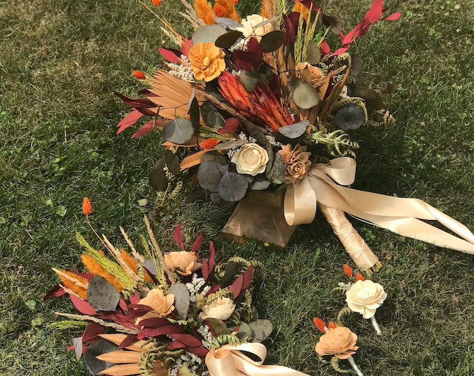 READY TO SHIP Dried Flower, Sola Wood Flower Fall Micro Wedding Bundle Set, Rust, Orange, Pampas Grass, Palm, Grasses