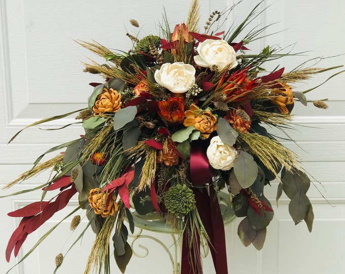 READY TO SHIP Large Lux Dried Flowers,Sola Wood,Pampas Grass,Burnt Orange,Rust,Cream,Olive Green,Burgandy, Fall,Winter