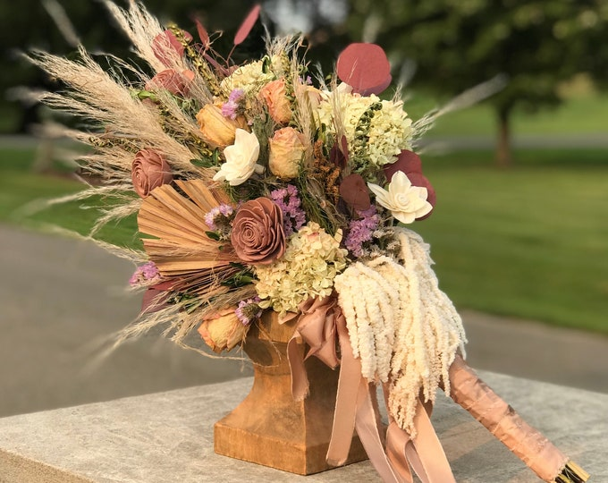 READY TO SHIP Dried Flower Sola Wood Boho Pampas Grass Bridal Bouquet