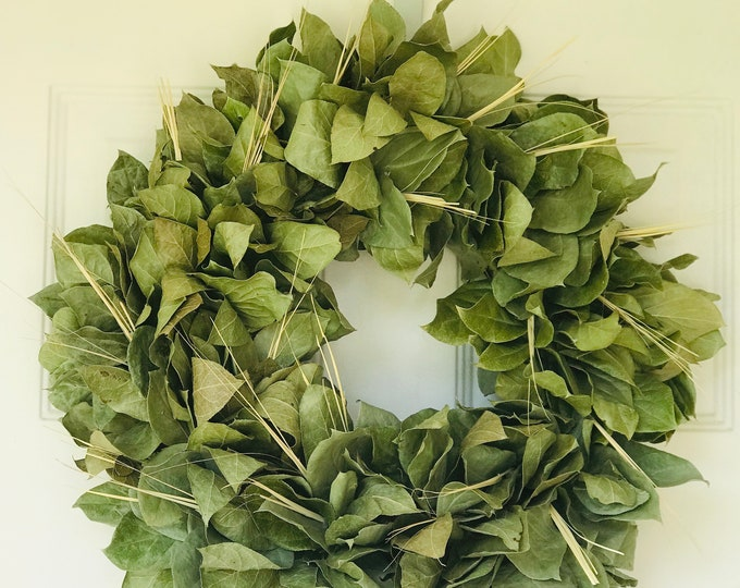 READY TO SHIP Large Dried Lemon Leaf Wedding Minimalist Modern Farmhouse Interior Wreath Decor
