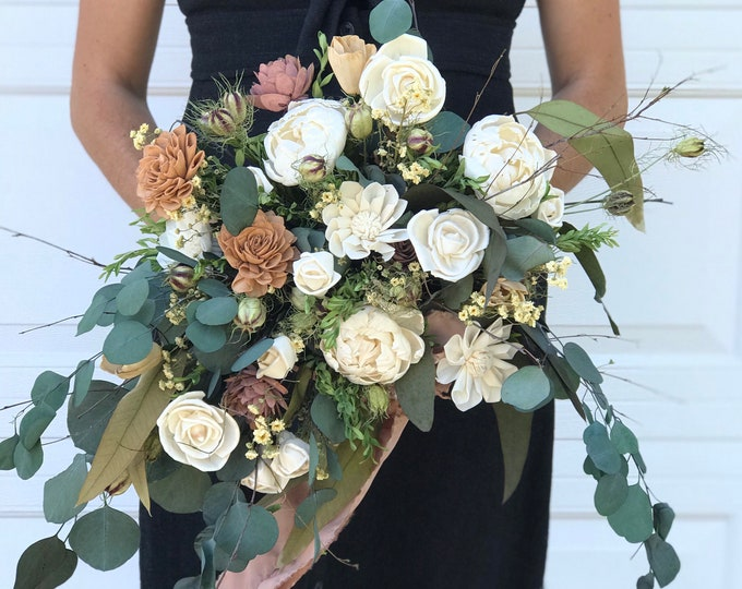 READY TO SHIP Lux Natural Wedding Bridal Bouquet Boho Woodland Wedding Bouquet Matching Bout Free Shipping
