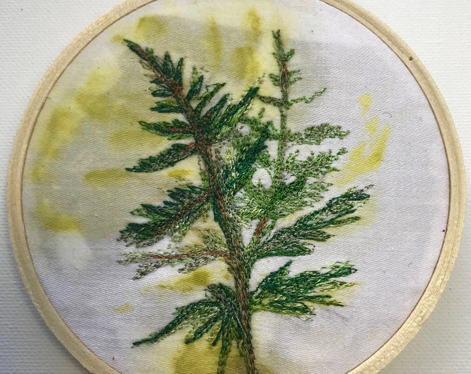 Holiday Hoops Common Fern Botanical Art Embroidery Hoop Ornament Original Artwork Woodsy Decor FREE SHIPPING