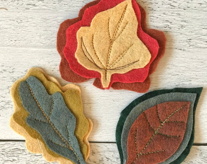 Waldorf Inspired Natural Wool Felt Leaf Set Homeschooling Education Nature Play Toddler PreSchool Playful Art