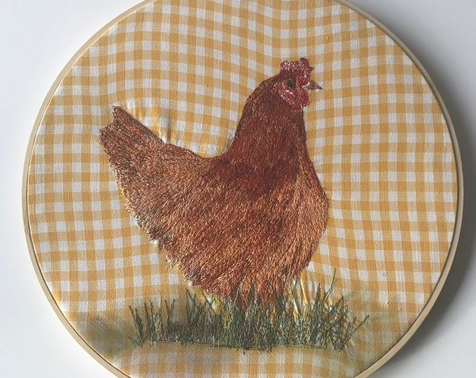 French Country Farm House Decor Free Motion Embroidery Hoop Rhode Island Red Chicken Hen Yellow Gray Wall Hanging