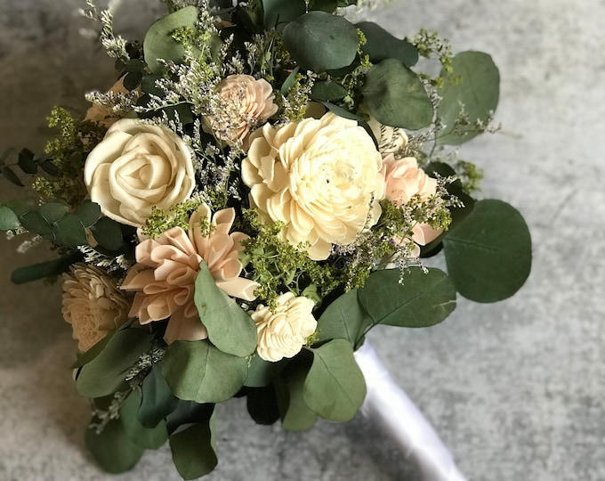 READY TO SHIP Bridal Wedding Bouquet Free Matching Boutonniere All Natural Pink Cream Sola Wood Flowers Dried Flowers Hand Tied Boho Style