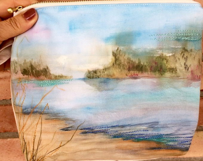 Hand Painted Organic Cotton Beach Scene Wristlet
