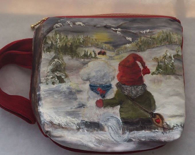 Swedish Gnome TomTe with White Bichon Dog Handpainted Velvet Wristlet Purse Bag