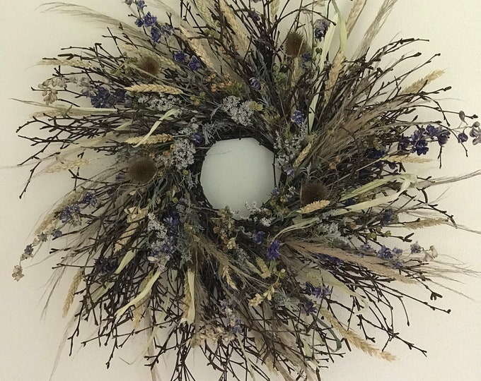 READY TO SHIP Large Dried Flower Birch Twig All Natural Wreath