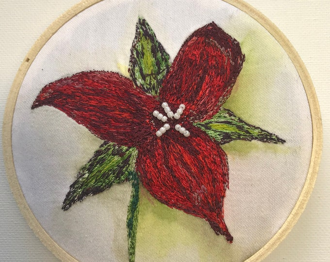 Holiday Hoops Trillium Embroidery Hoop Ornament Original Artwork Woodsy Nature Decor FREE SHIPPING