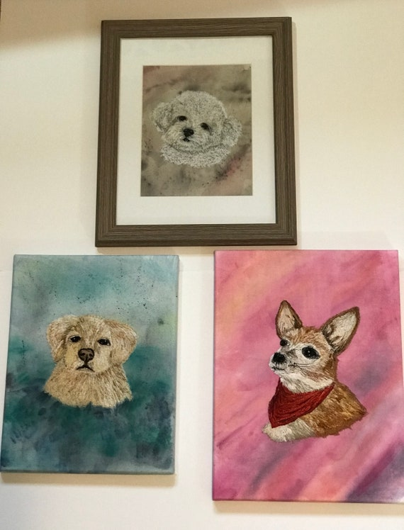 Custom Order Thread Painted Free Motion Embroidery Pet Portrait on Hand Painted Background Wall Art Picture Memorial
