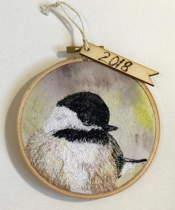 Holiday Hoops Chickadee Bird Embroidery Hoop Ornament Original Artwork FREE SHIPPING