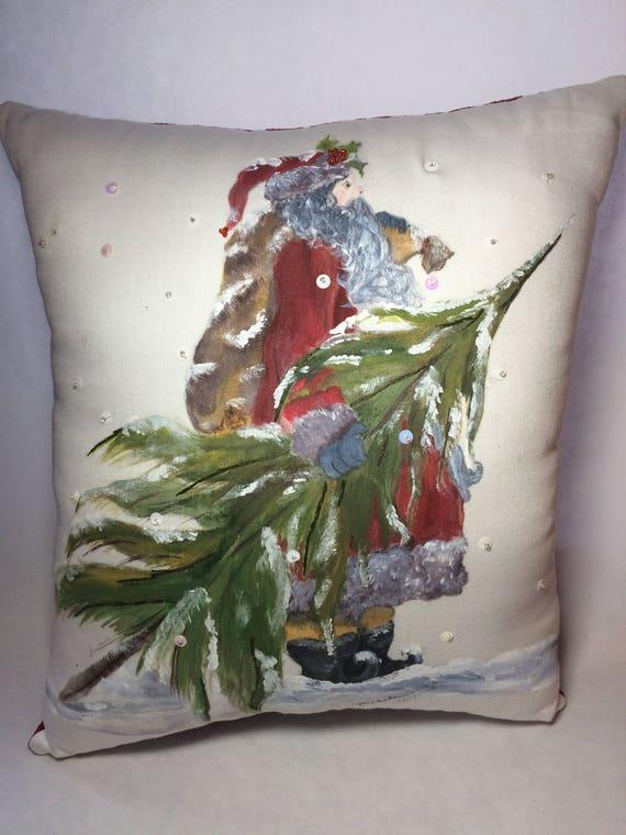 SALE,Hand painted Hand Sewn Vintage St Nick Santa Christmas Pillow, interior decor, savings