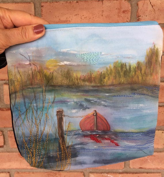 Hand Painted On Organic Cotton Little Red Boat Wristlet