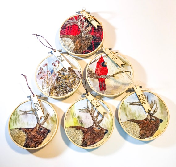 Embroidery Hoop Textile Art Christmas Ornament Holiday Hoops Balsam Fir