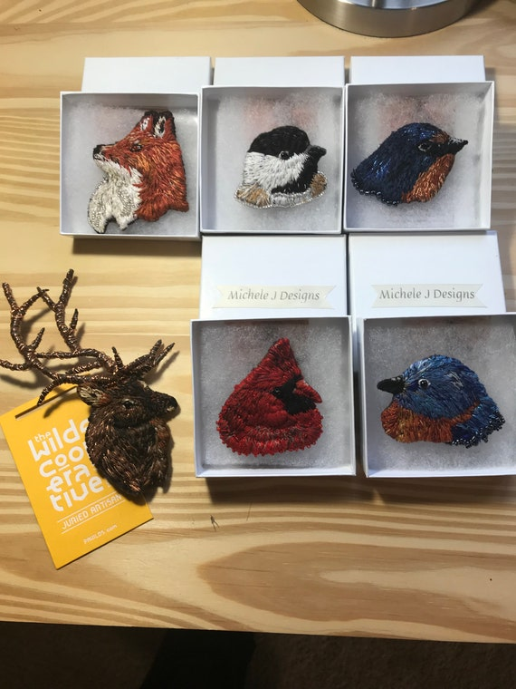 Made To Order Bird and Animal Thread Painted Hand Embroidered Wearable Art Brooch Pins