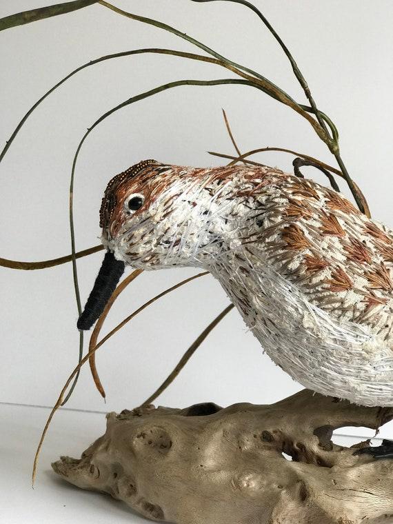 Soft Sculptured Art Sandpiper Beach Wedding Nature Driftwood Decor Home Interior Bird Decor Modern Heirloom