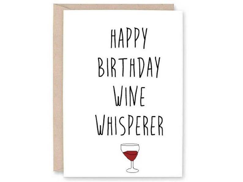 Funny Happy Birthday Card Wine Whisperer