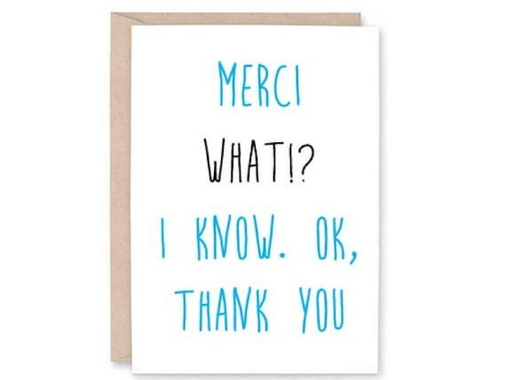 Funny Bilingual Greeting Card - french thank you, thank you card, blank  thank you card, French English card, thankful card, gift for friend