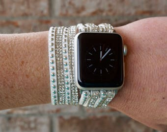 Bling White Rhinestone and Studded Double Wrap Apple Watch Band Strap for iWatch, Adapter 38mm/42mm, with Faux Leather, Silver Buckle Clasp