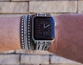 Bling Gray Rhinestone and Studded Double Wrap Apple Watch Band Strap for iWatch, Adapter 38mm/42mm, with Faux Leather, Silver Snap Clasp