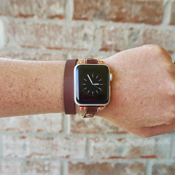 Rose Gold And Brown Double Wrap Leather Apple Watch Band Strap Etsy